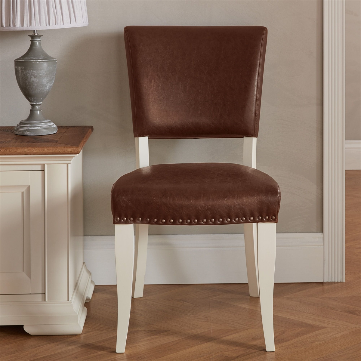 Belgrave Two Tone - Upholstered Chair - Tan Faux Leather