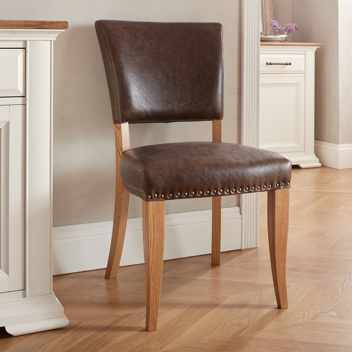 Belgrave Rustic Oak - Upholstered Chair - Rustic Espresso Faux Leather