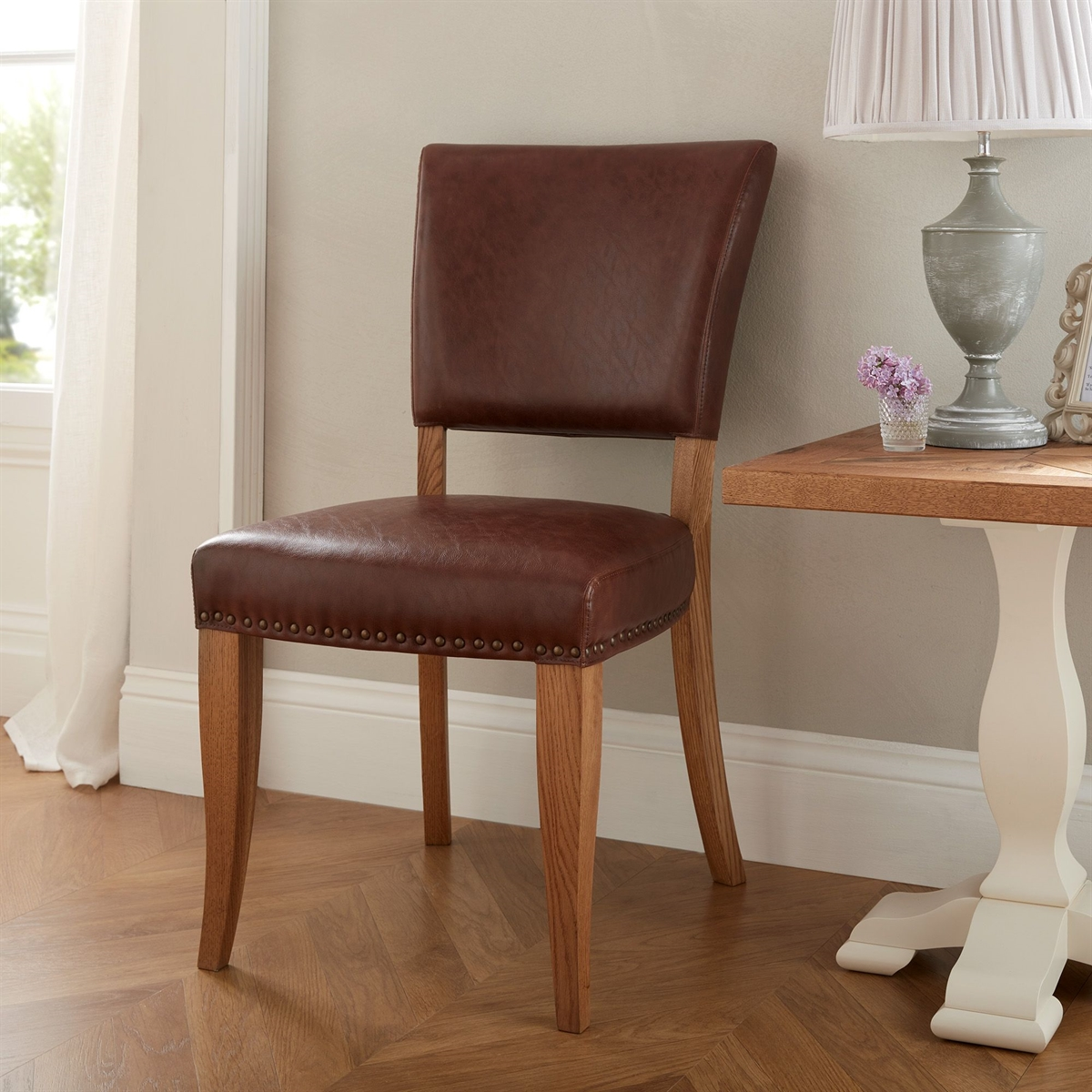 Belgrave Rustic Oak - Upholstered Chair - Tan Faux Leather