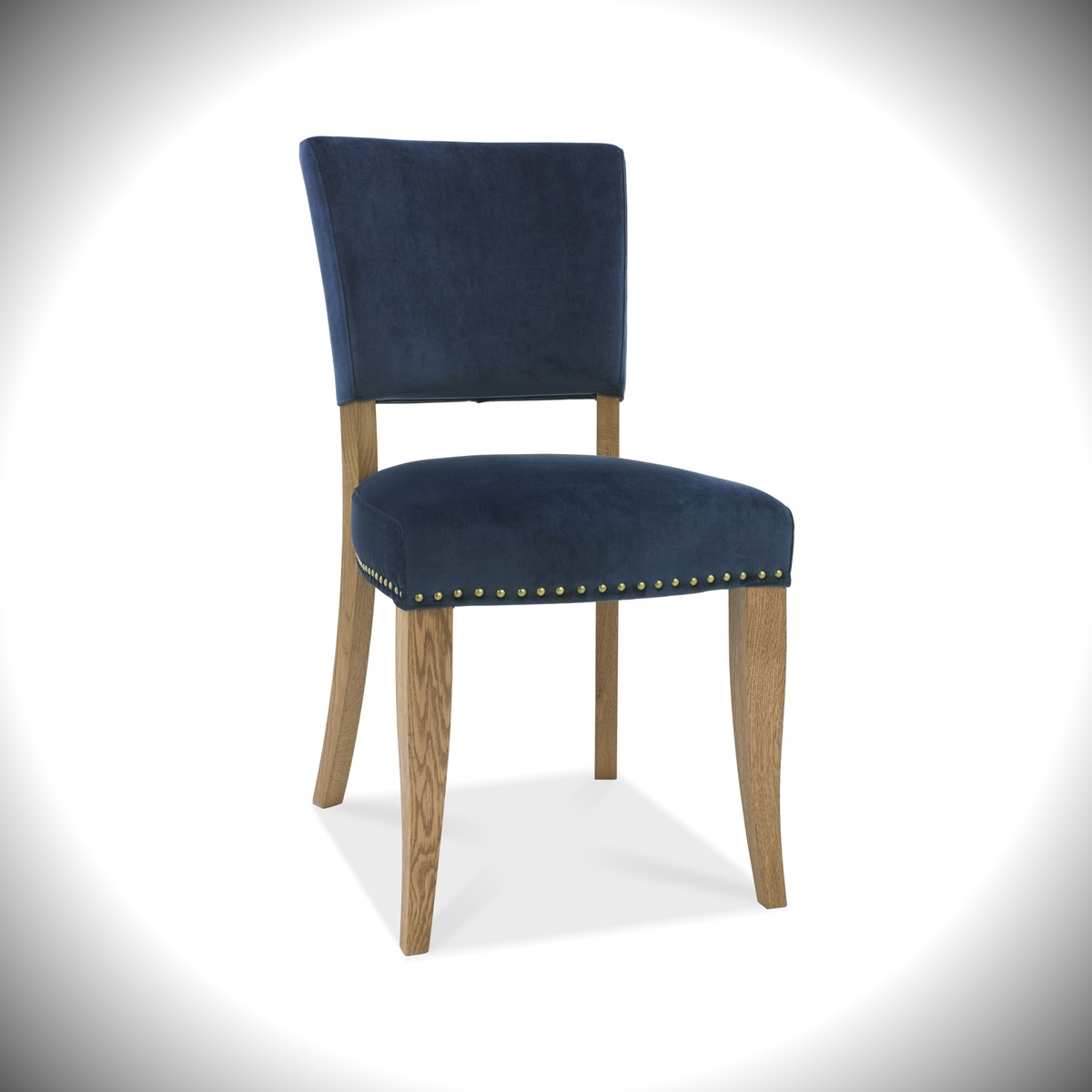 Rustic Oak - Upholstered Velvet Chair - Dark Blue