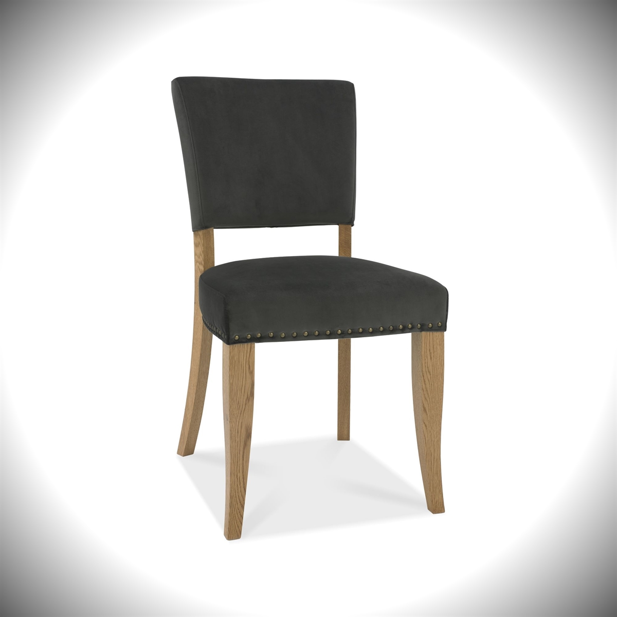Rustic Oak - Upholstered Velvet Chair - Gun Metal