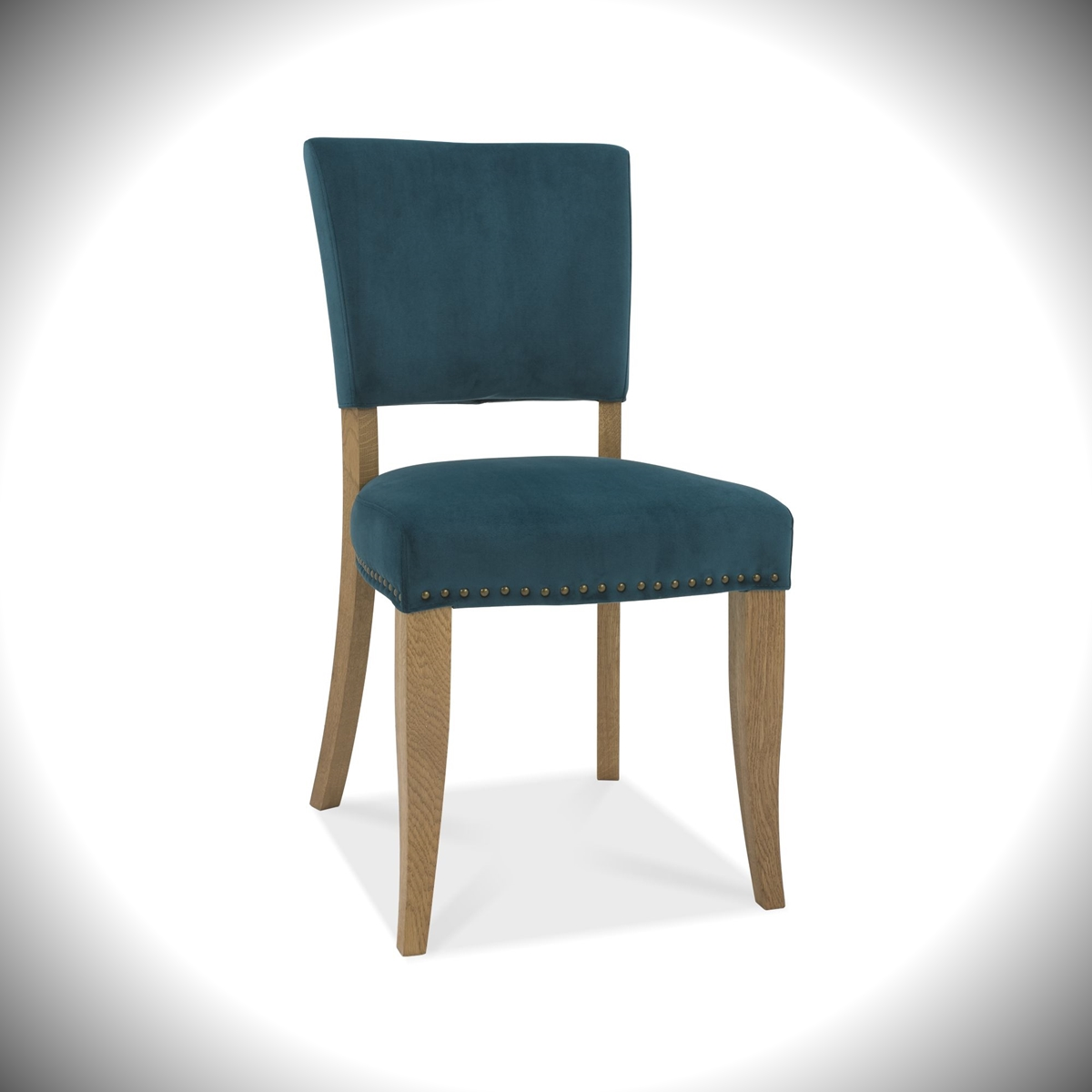 Rustic Oak - Upholstered Velvet Chair - Sea Green