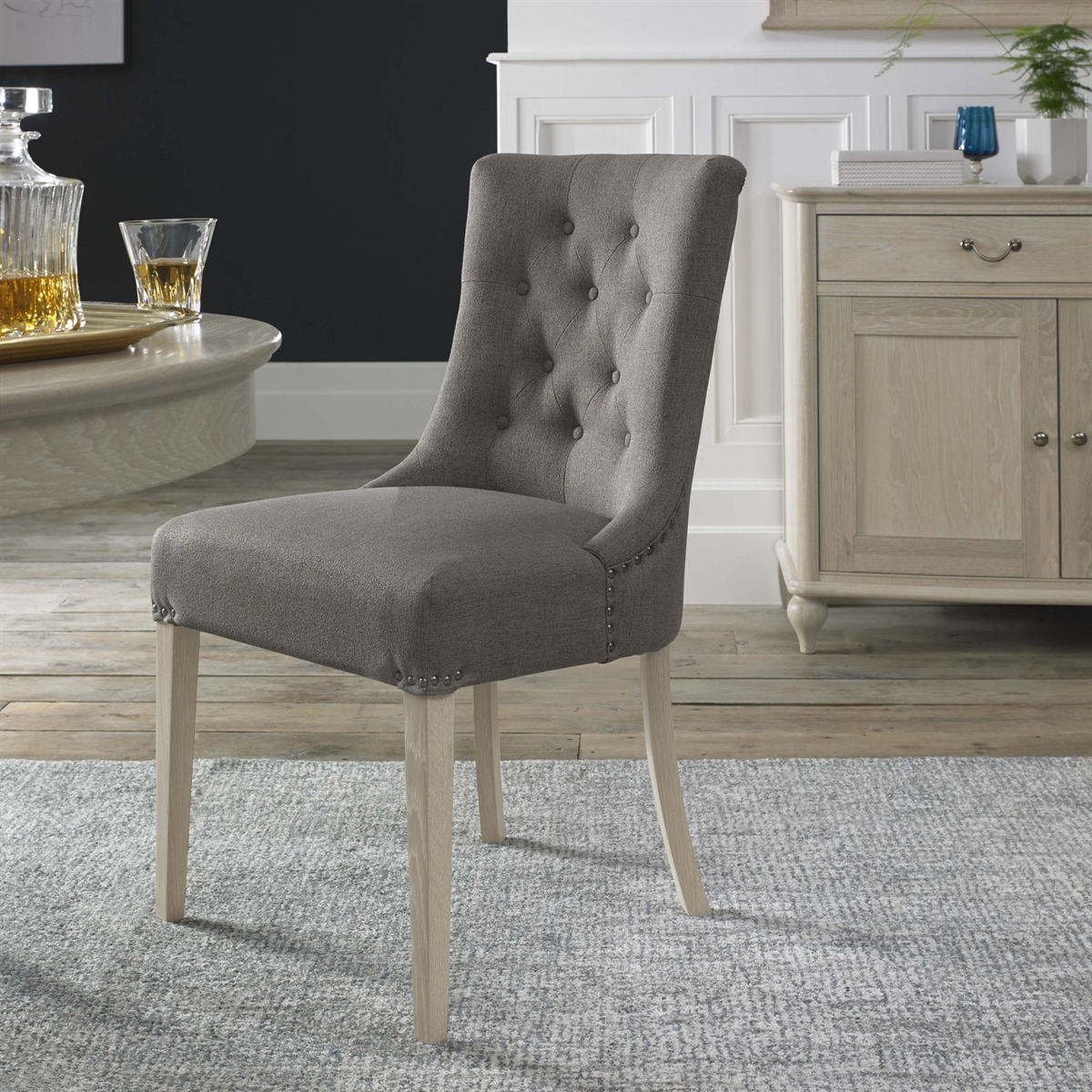 Bordeaux Chair - Upholstered Scoop Chair - Titanium Fabric