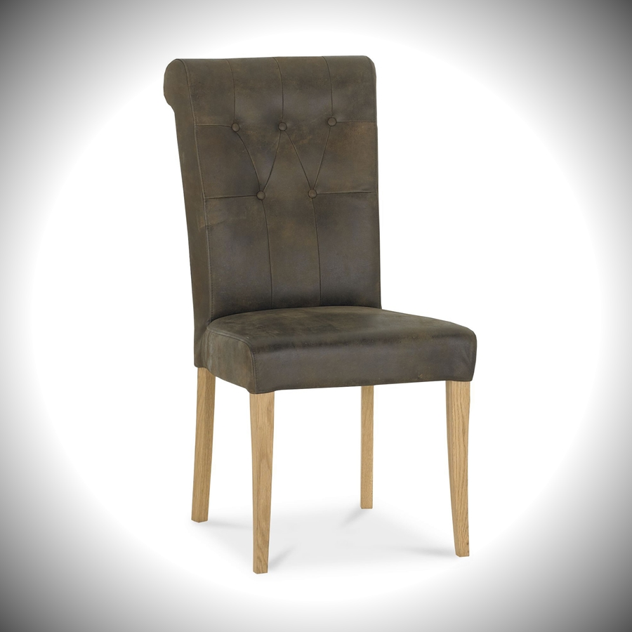 Turner Upholstered Chair - Brown Distressed Bonded Leather