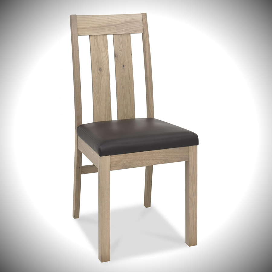 Turin Slatted Chair - Brown Bonded Leather