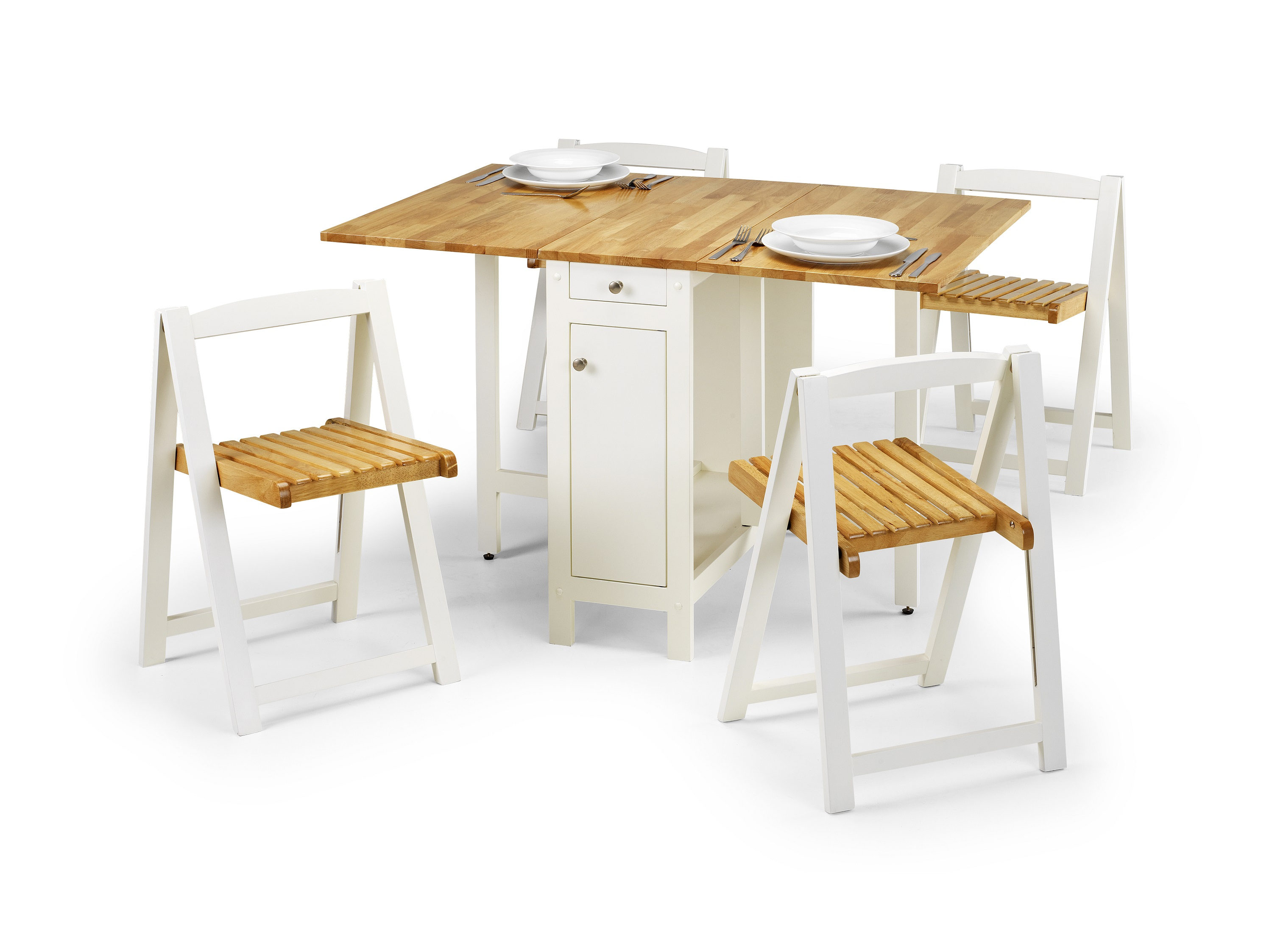 Savoy Dining Set White and Natural